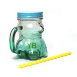 Glasbecher-Gläser, Bären-Form-Getränkeflasche mit Kappe und Griff