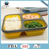 Caixa de almoço Foldable Sfb09 de Bento do recipiente de armazenamento do alimento do silicone