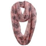 Sciarpa chiffona della molla di infinità del poliestere stampata Rosa di modo delle ragazze (YKY1109)