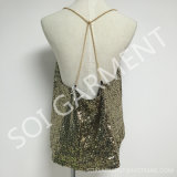 Ladies (BL-204)のための熱いSale Sequin Mesh Top Blouse