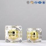 化粧品のための贅沢な銀製の金の正方形の高品質のプラスチックアクリルの装飾的なクリーム色の瓶