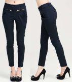 Pantalon fait sur commande de bonne qualité de coton ajusté par mode avec la patte des femmes de Spandex