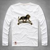 Maglietta lunga della base del cotone del Knit del manicotto degli uomini con il reticolo del leone