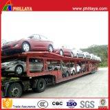 Caminhão de três chassis do transporte do eixo reboque hidráulico do portador de carro do auto Semi