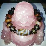 Halb kostbarer Stein-Achat-Buddha-moslemisches wulstiges Armband