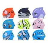 かわいい漫画の網の鮫の印刷の子供のシリコーンの水泳帽