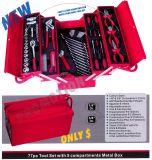 красный комплект инструментов коробки металла 77PCS