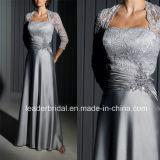 Серая мать сатинировки шнурка платьев вечера M13522 платья невесты длинних