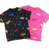 Plein T-shirt 100% d'enfants de Sleeeve de short de qualité d'impression de coton