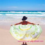 綿の卸売のふさのトリムが付いている円形の円のビーチタオル