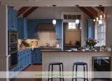 水晶上(WH-D299)が付いている淡いブルーの純木浜様式の食器棚