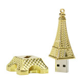 USB Pendrive da torre Eiffel do flash da memória da vara do USB do metal