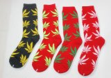 2016 alti calzini del HUF del nuovo di disegno del Weed del foglio ginocchio del cotone