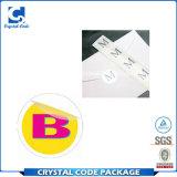 Escritura de la etiqueta clara impresa brillante de la etiqueta engomada de la impresión del vinilo