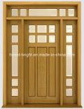 Glass 측 라이트와 Transom를 가진 마호가니 Solid Wood Door