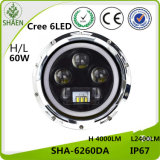 7 faro dell'automobile di pollice H/L LED per la jeep 60W