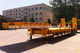 De 3 essieux de Fuwa de jaune de bâti remorque inférieure semi avec l'échelle