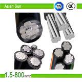Cable aislado XLPE/PVC/PE de aluminio del ABC del conductor