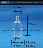 Bottiglia di vino di vetro trasparente impressa del reticolo