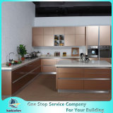 Gabinete de cozinha de madeira maciça de madeira de aço inoxidável de alta qualidade
