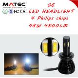 Faro di alluminio luminoso eccellente dell'alloggiamento LED per il faro dell'automobile 4800lm H4 H7 H11 LED per il motociclo