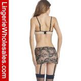 Reeks van de Lingerie van de Nachthemden van Chemise van het Verband van het Kant van de Wimper van vrouwen de Tweedelige Kruiselingse Sexy
