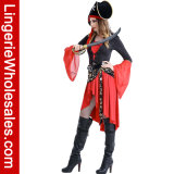 Halloween-Partei-Abendkleid-reizvolles hochrotes grausames Pirat Cosplay Kostüm der Frauen
