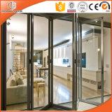 Porta de vitrificação dobro/triplicar-se vidro Tempered, porta deDobramento do pátio da folha da liga de alumínio, deslizamento da alta qualidade e porta de dobradura