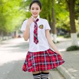고등학교 제복은 소녀를 위한 셔츠 그리고 치마를 디자인한다