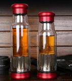 De dubbele Kop van de Sport van het Glas van de Muur met Draagbare Kop van de Muur van de Kop van de Thee van de Filter de Dubbele