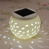 LED Solar Power Light Color Changing Ceramic Globe Ball Table Lamp
