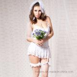 Vêtements de nuit blancs de mariée de lacet
