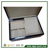 Caixa de armazenamento de madeira lustrosa elevada da jóia com gaveta