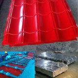 Toiture ondulée de tôle d'acier enduit de couleur rouge