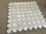 Azulejo de mosaico de cristal mezclado blanco del corte del jet de agua del modelo de Thassos Parviflorous