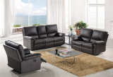 Sofa de cuir véritable de salle de séjour (C757)