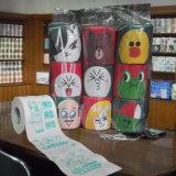 Essuie-main estampé par coutume de papier de soie de soie de salle de bains de fournisseur de rouleau de papier hygiénique de nouveauté