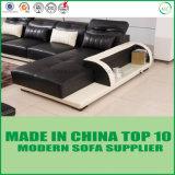 Alta qualidade luxuosa L sofá do canto do couro da forma com luz