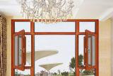 Janela de alumínio com revestimento de madeira revestida de vidro com peça de arco