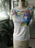 2017 одежд тенниски цветка хлопка Sequin лета симпатичных цветастых