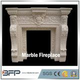 Подгонянное украшение камина конструкции Freestanding белое мраморный
