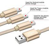3 in 1 Kabel van Gegevens voor de Androïde Kabel van het iPhoneType C USB
