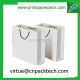 Einfaches weißes kundenspezifisches Lebensmittelgeschäft u. PAS-Papiertüten mit Firmenzeichen-Drucken
