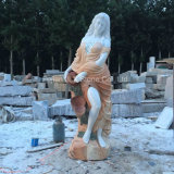 Sunset Red Marble Stone Garden Lady Escultura