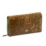 Nuovo cuoio del fiore di disegno di Fani con la borsa impressa della chiusura lampo del raccoglitore