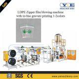 Machine de soufflement de film de tirette de LDPE avec l'impression intégrée 1-2colors de gravure