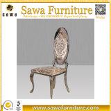 PU inoxidable de oro moderna del marco de acero del diseño que cena la silla