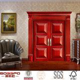Caoba Doble entrada de la puerta principal de entrada Puerta de madera sólida (GSP1-017)