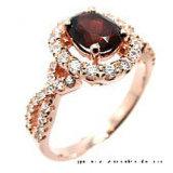 심혼 모양 돌 (R0077py)에 황금 낭만주의 작풍 925 짜개진 조각 결혼 반지