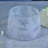 Трапецоидальные форменный стеклянные сосуды свечки с Sandblasted декором